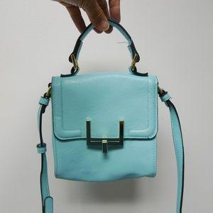 aqua blue small top handle / shoulder bag